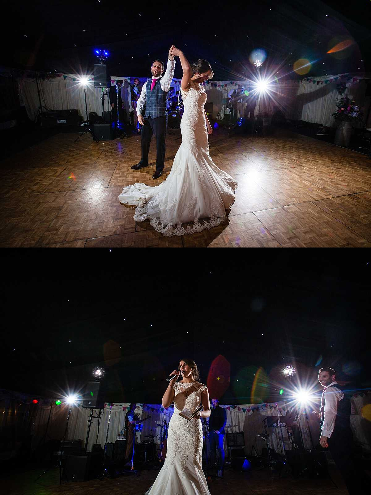 bride and groom turning around and signing during their first dance at their marquee wedding in wales