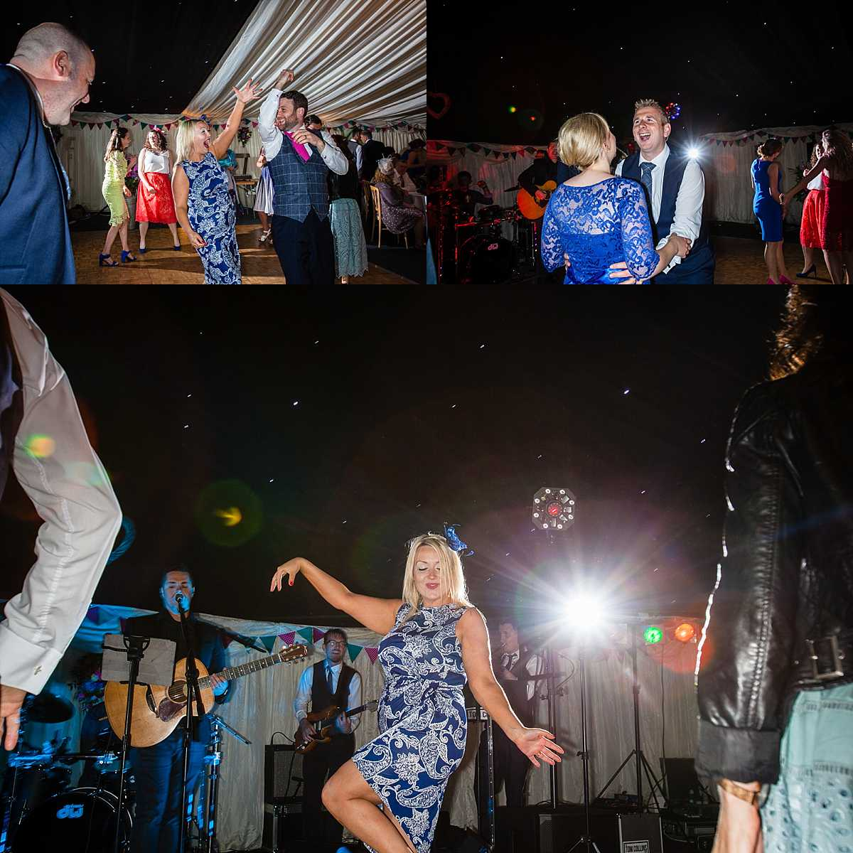 guests enjoying themselves at marquee wedding and dancing