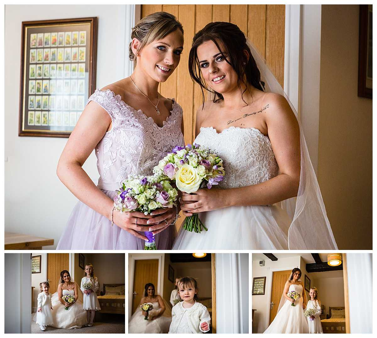 bride formal photos with the maid of honour and flower girls in shropshire pub