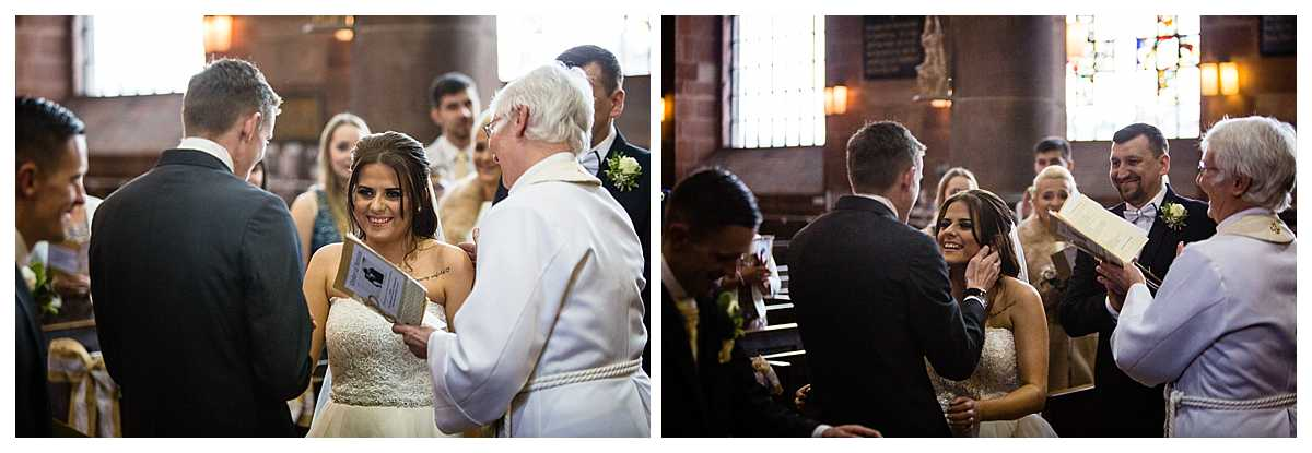 bride and groom looking at one another lovingly and reaching in for a kiss once they said i do! in st alkmunds church