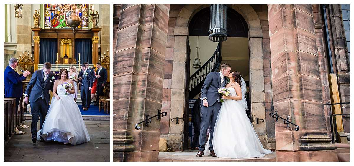 walking down the aisle after getting married at st alkmunds church and having a big kiss outside church