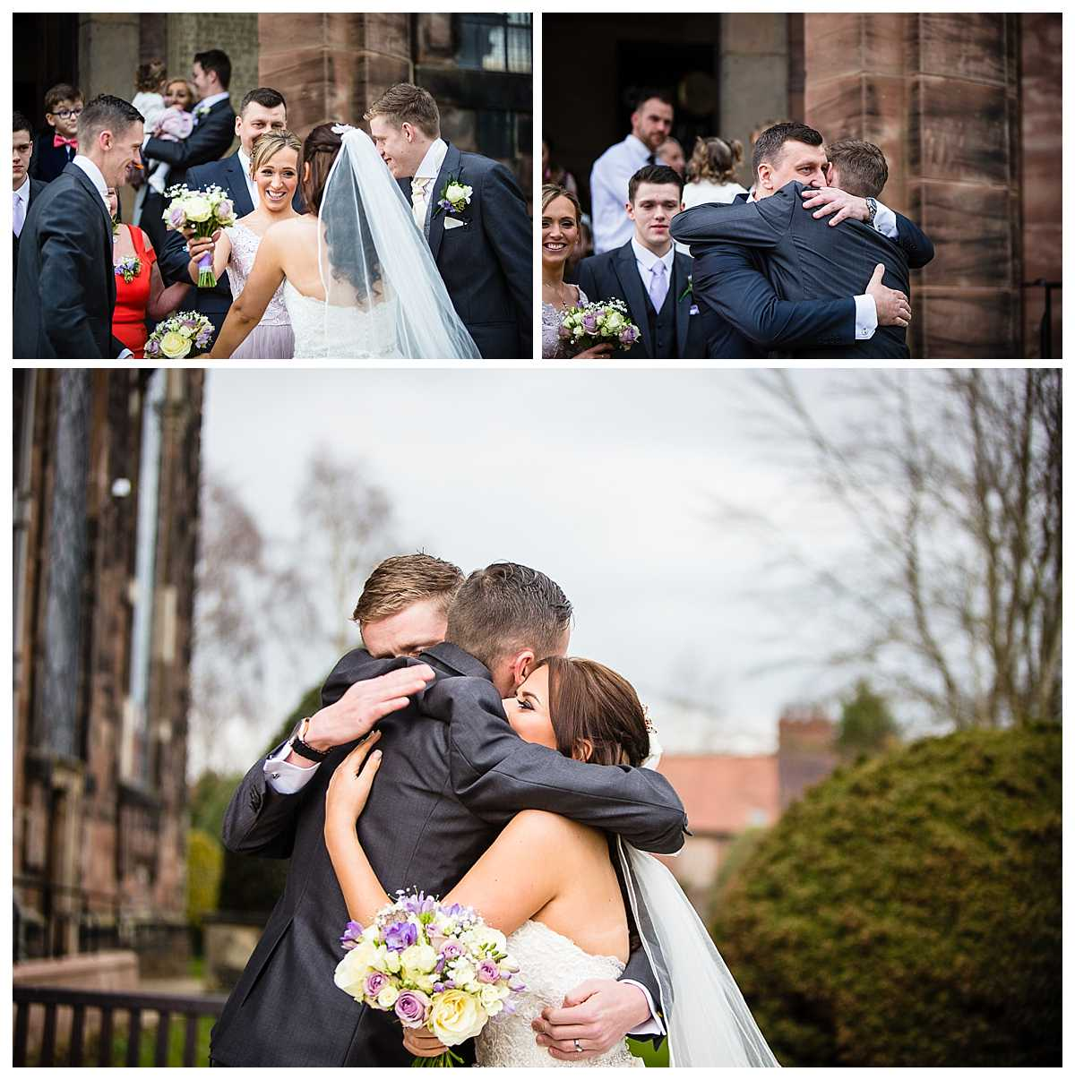 lots of beautiful expressions as guest come out of church and embrace the bride and groom outside