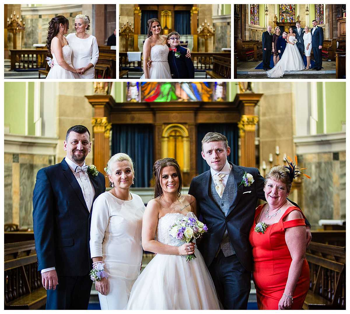 family photos taken inside st alkmunds church due to change in the weather and looking like it will rain - whitchurch shropshire wedding