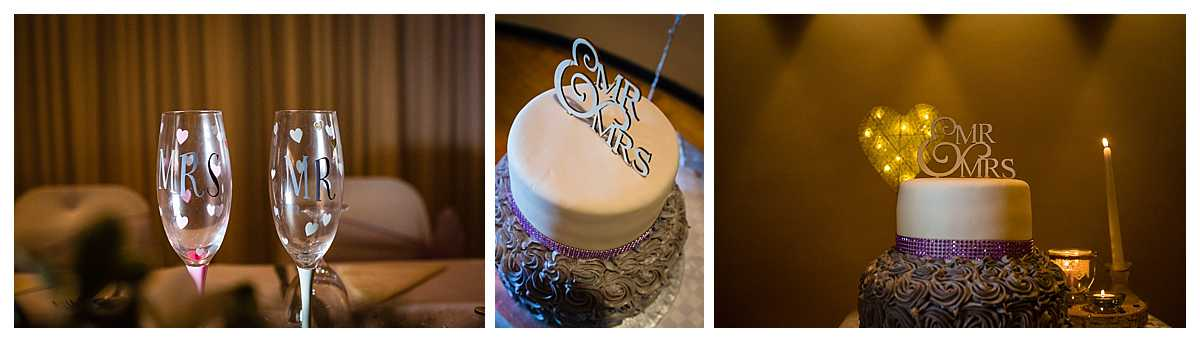 mr and mrs champagne flutes and gorgeous wedding cake