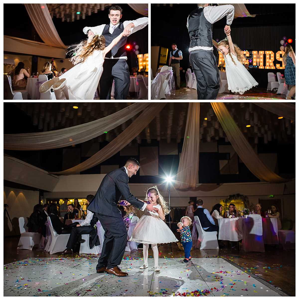 flower girl being swung around during the evening having fun during the reception