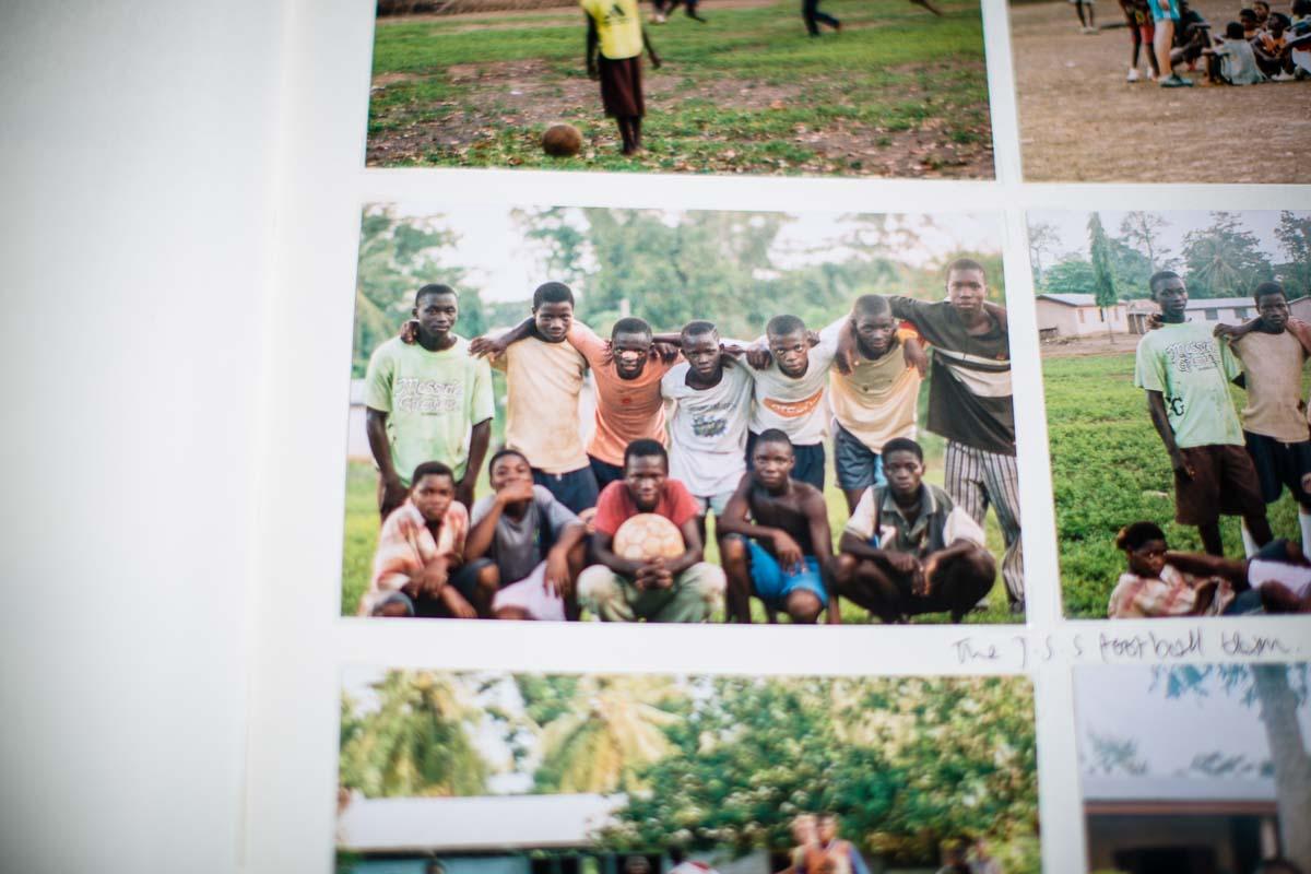 Ghanian boys of the village having a team football photo