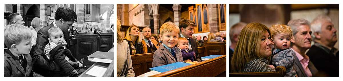 children looking happy in church for baby christening all smartly dressed