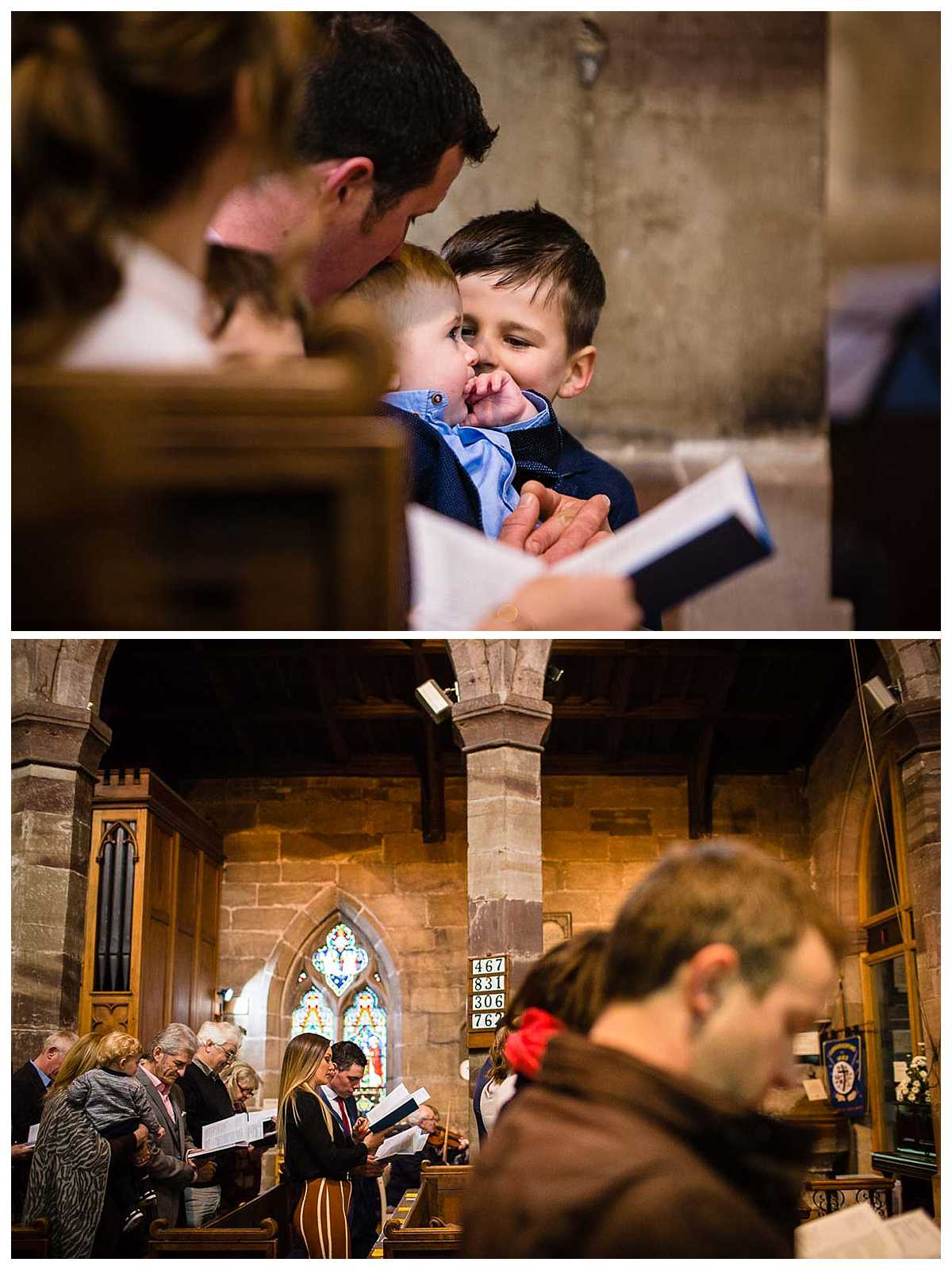 brothers playing close together during christening ceremony and overall view of st james church, audlem as guests sing