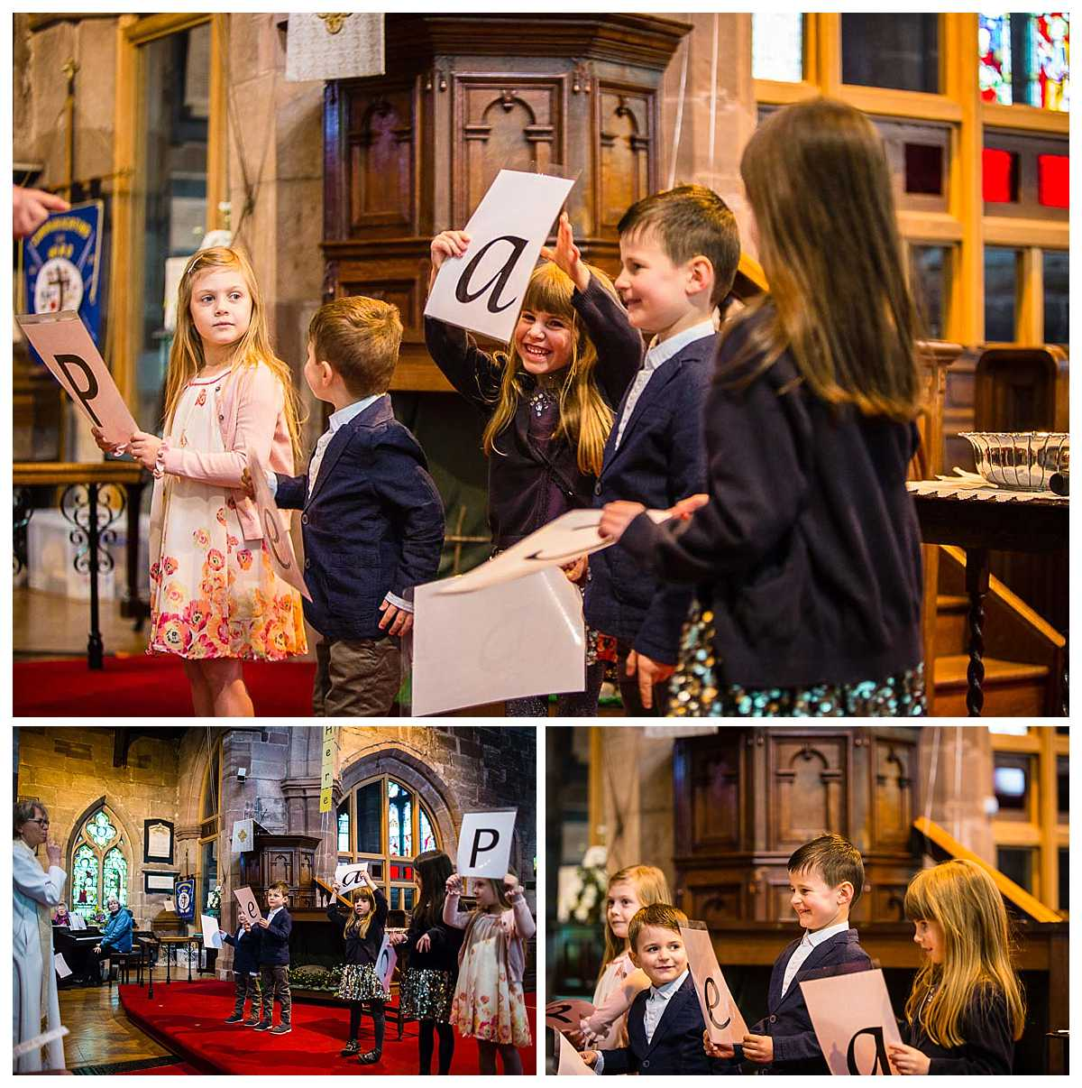 children holding up letters in church as the vicar tells a tale relating to the word peace