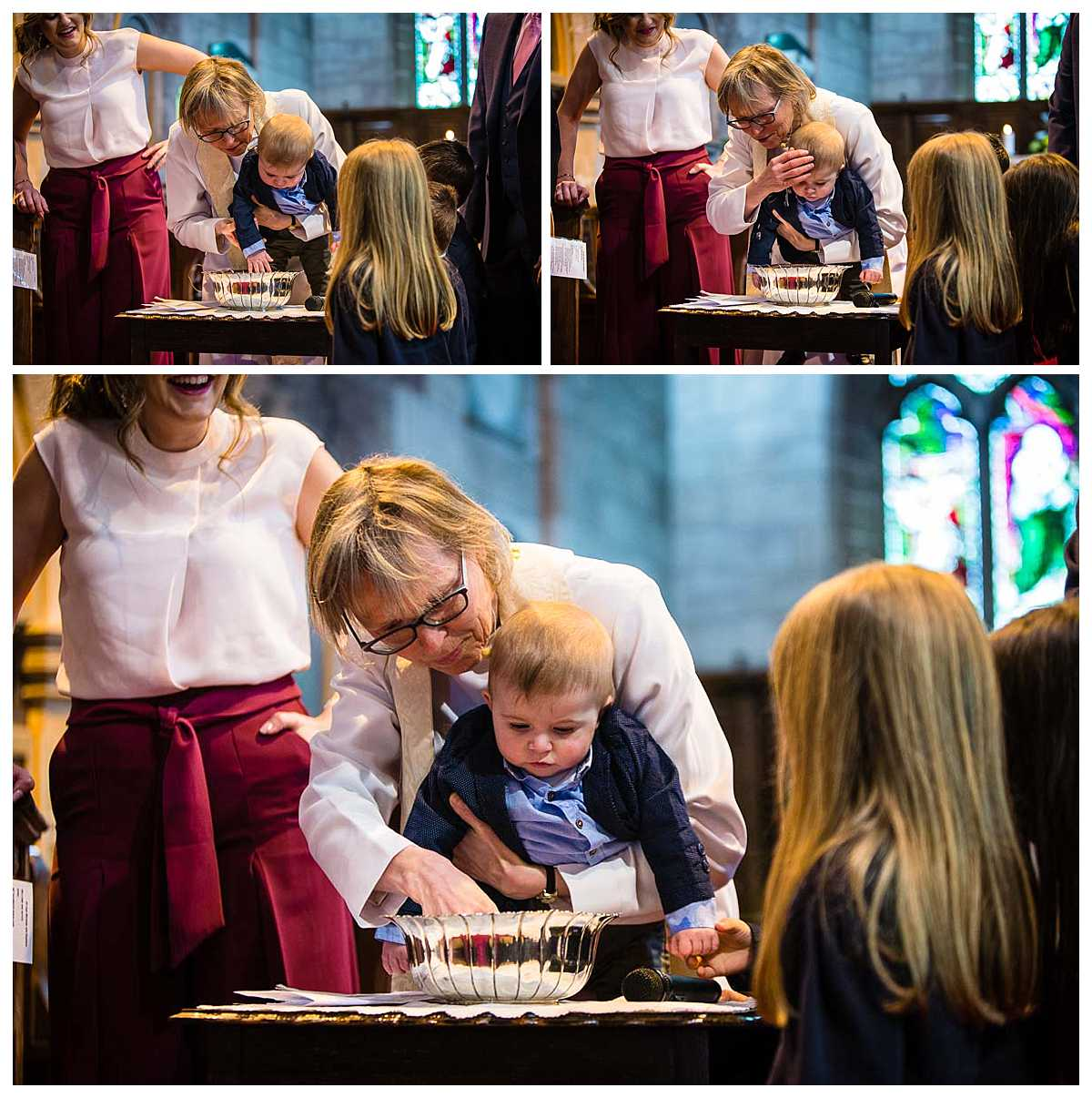 vicar of st james' church, audlem christening baby boy at the alter over a silver bowl of warm water