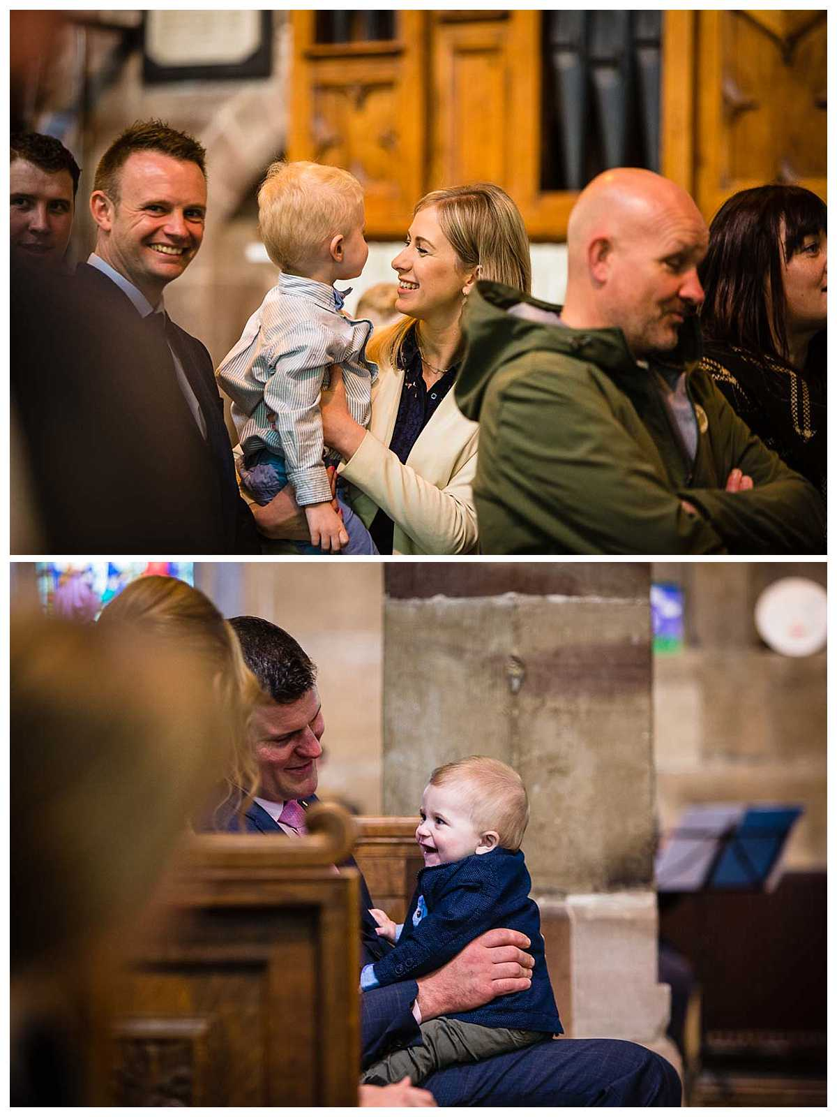 mother and son giggling with one another and father and son as everyone signs in church