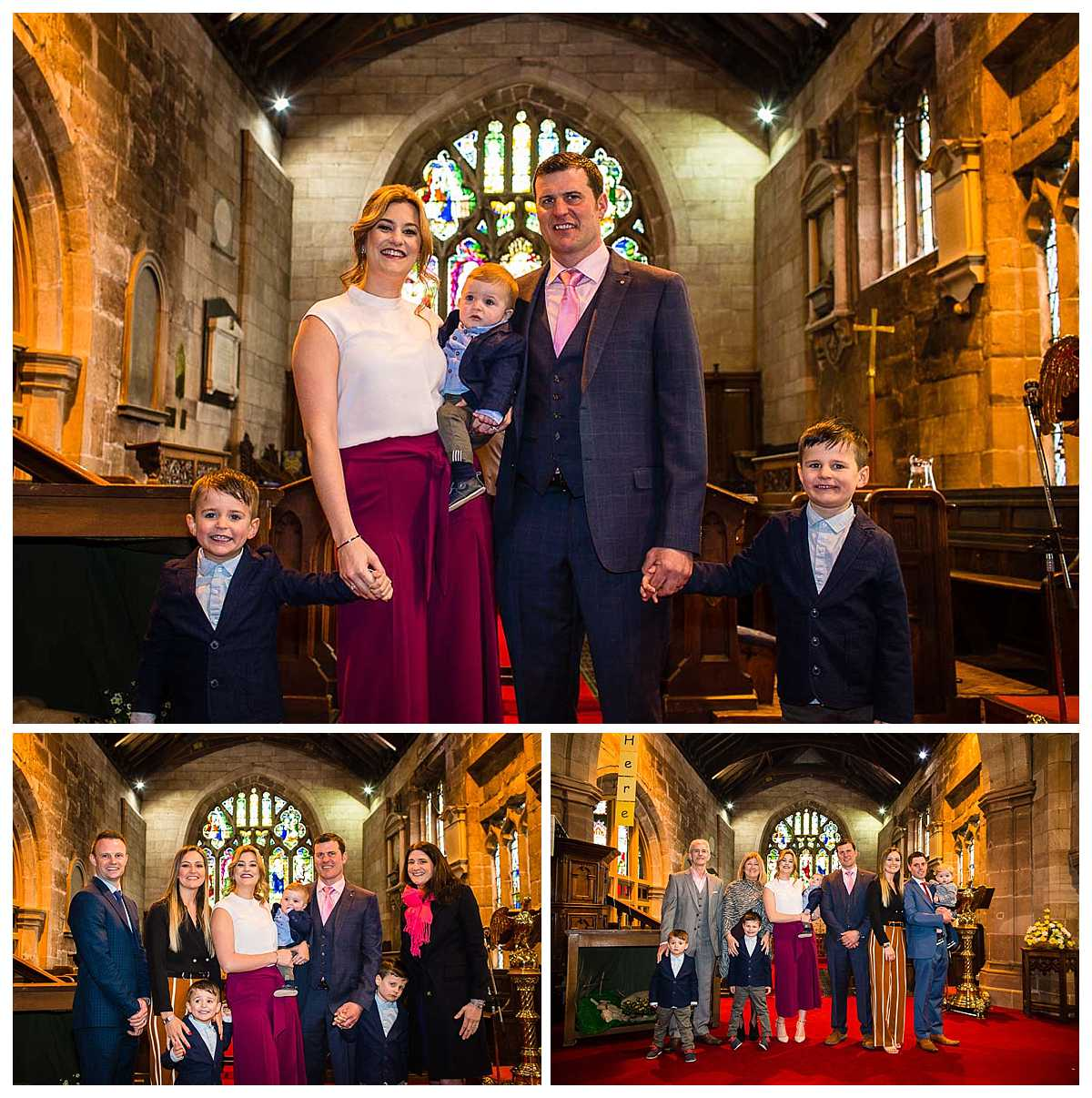 family photos taken at the alter in st james' church audlem cheshire