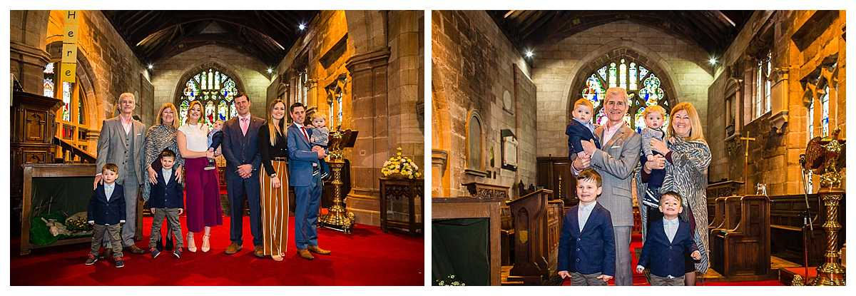 posed photos of family after christening in tradtional church in cheshire