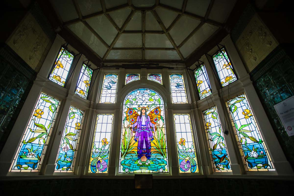 exploring as a victoria baths manchester photographer around the beautiful venue and stain glass window