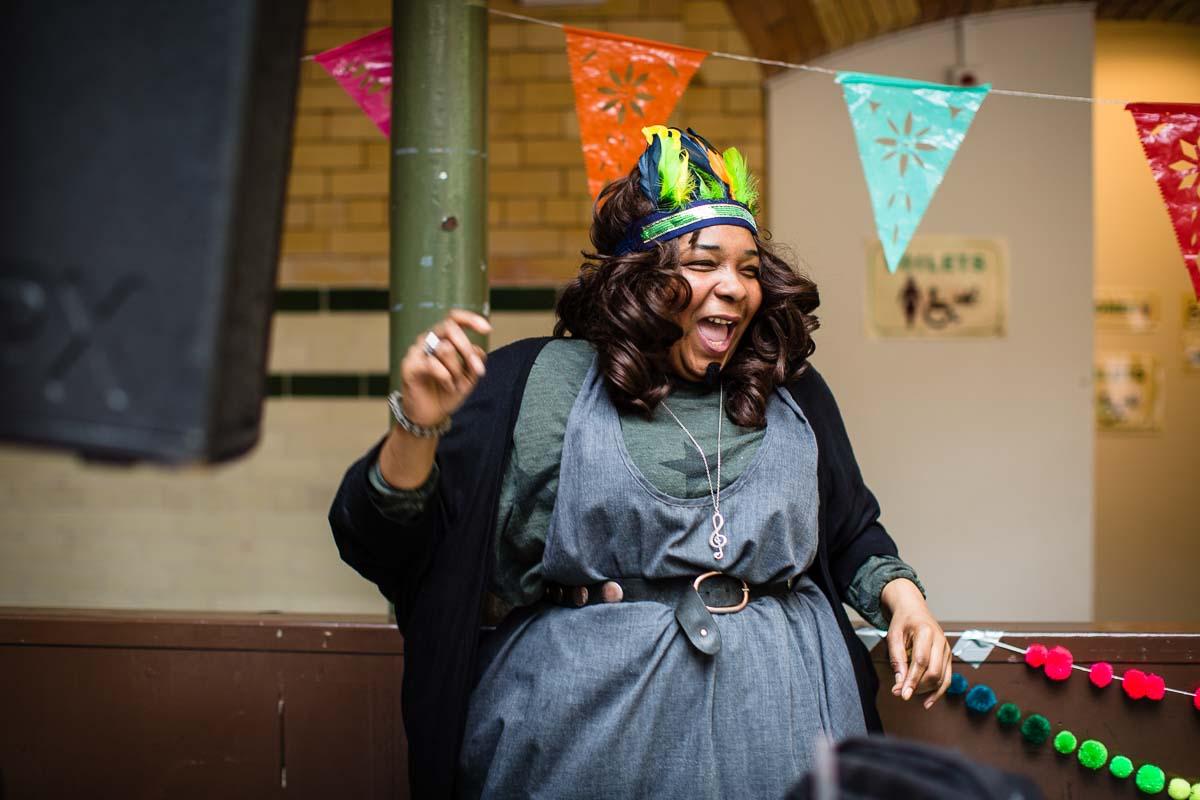 dj having a blast dancing around at parentfolk weekender in manchester