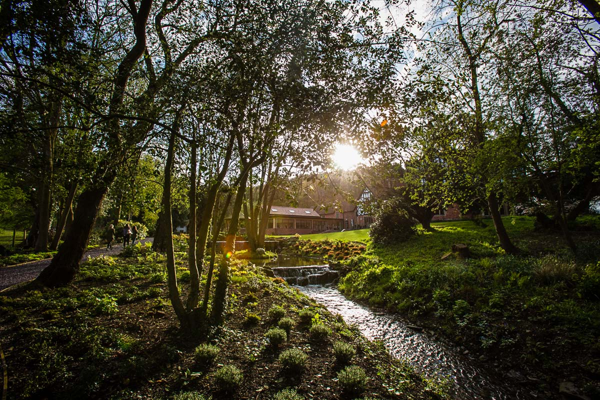 golden light on the back of tyn dwr wedding venue and the stream running thought the grounds