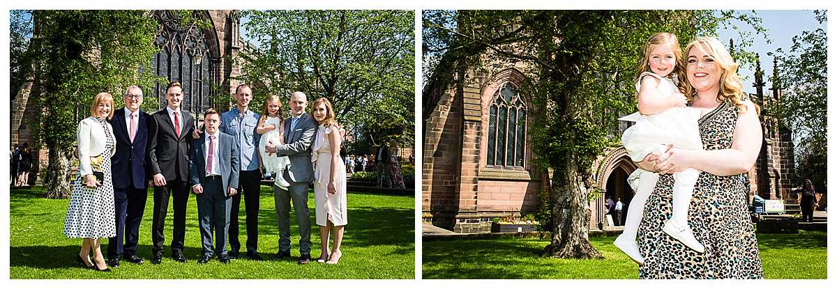 family photos outside st. mary's church, nantwichm cheshire