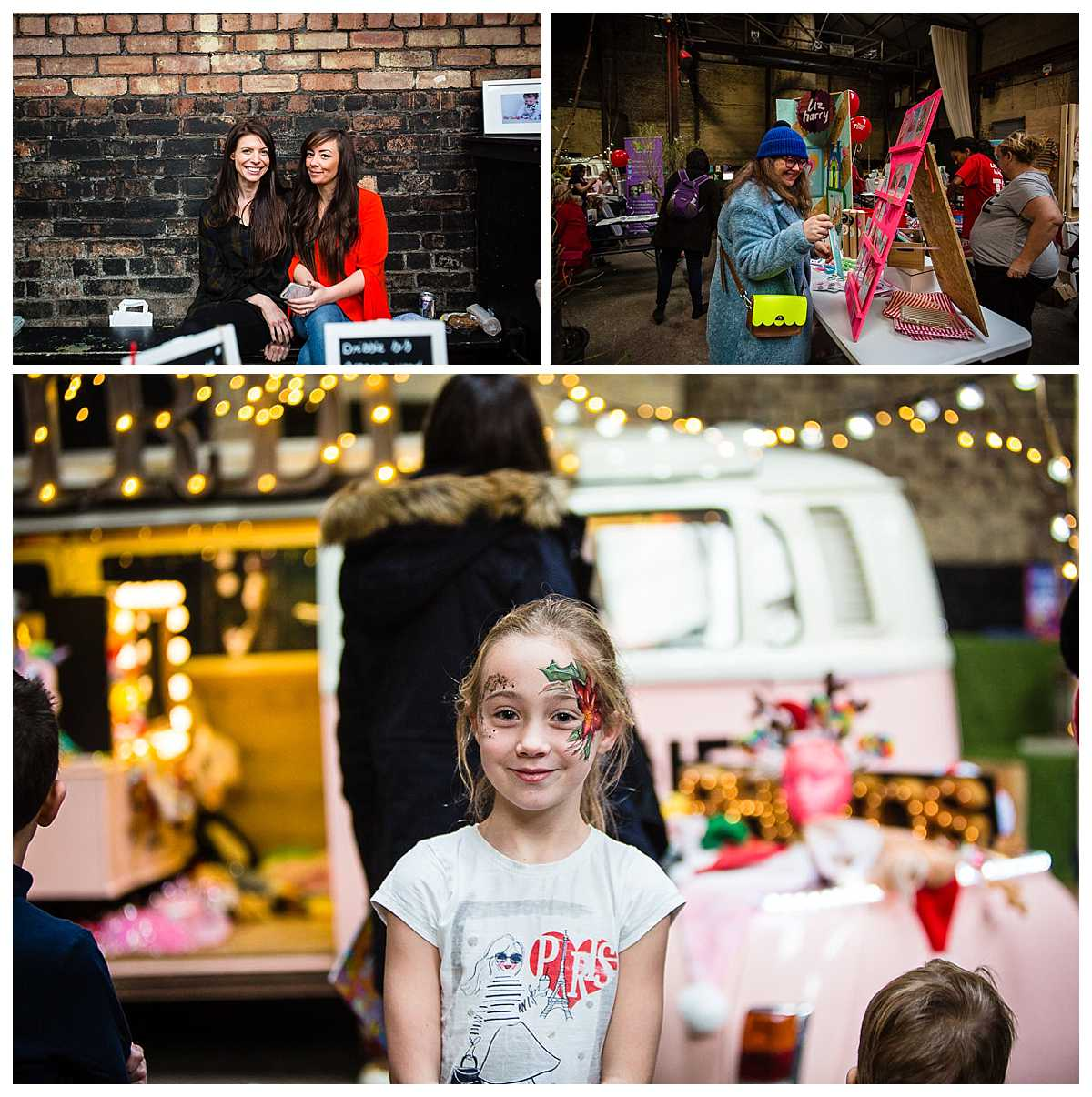 little girl with completed colourful face paint looking excited at camp and furnace parentfolk weekender