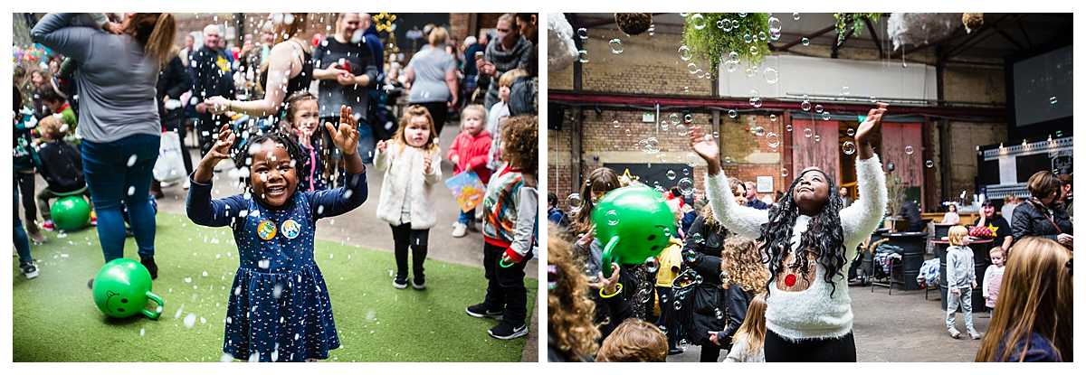 girls so excited as the bubble machine is in full flow at camp and furnace liverpool event