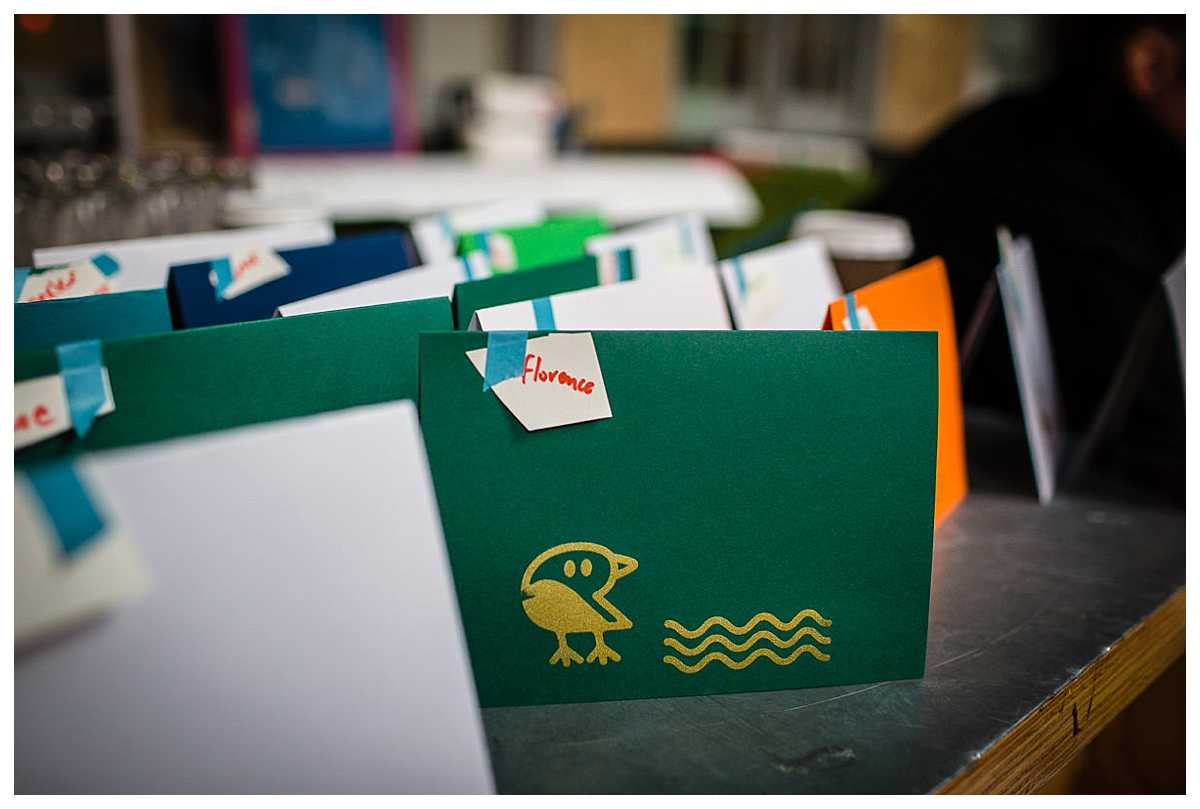 craft cards made with square pegs - green and gold themed at parentfolk weekender event