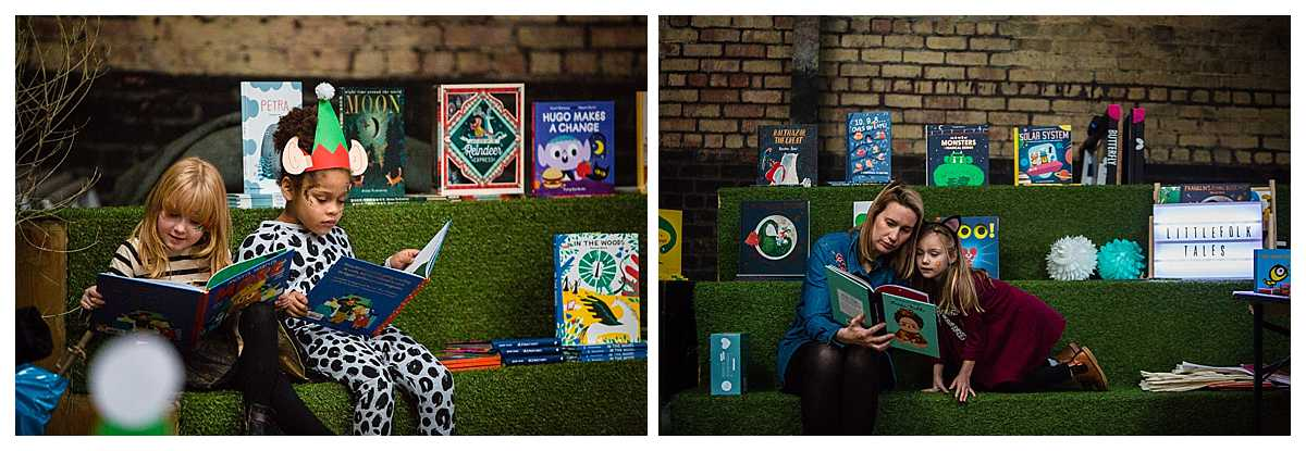 children reading with friends and mums at the littlefolks book corner - camp and furnace weekender