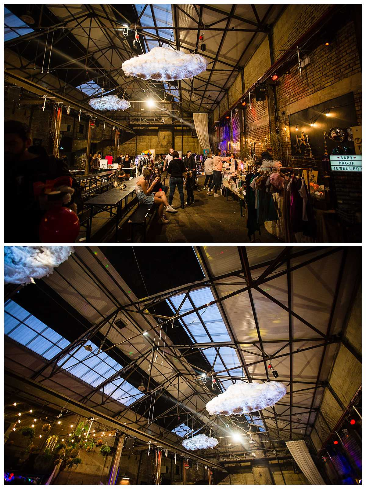 twilight evening of camp and furnace with light up clouds