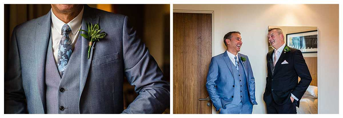 grooms details of jacket, tie and waistcoat along with a candid photo of groom and bestman having a laugh