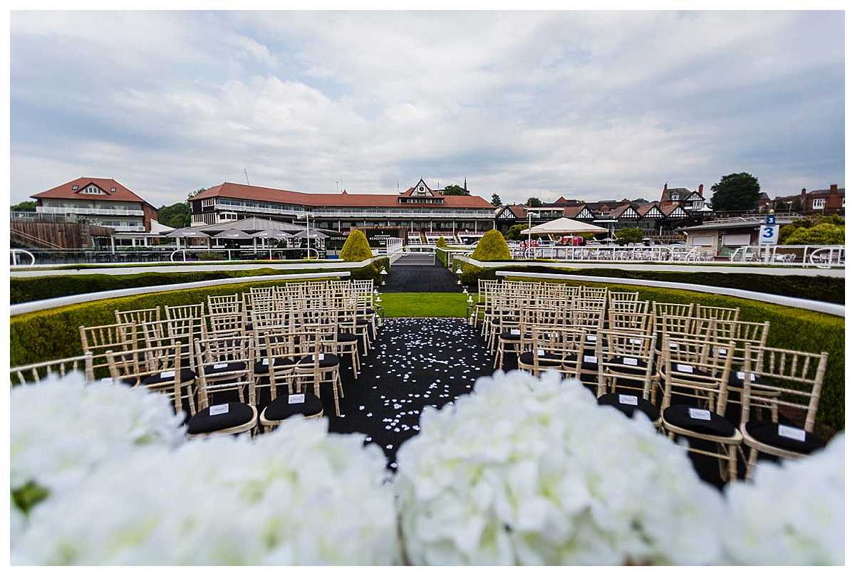 parade ring set up for outdoor ceremony at chester racecourse