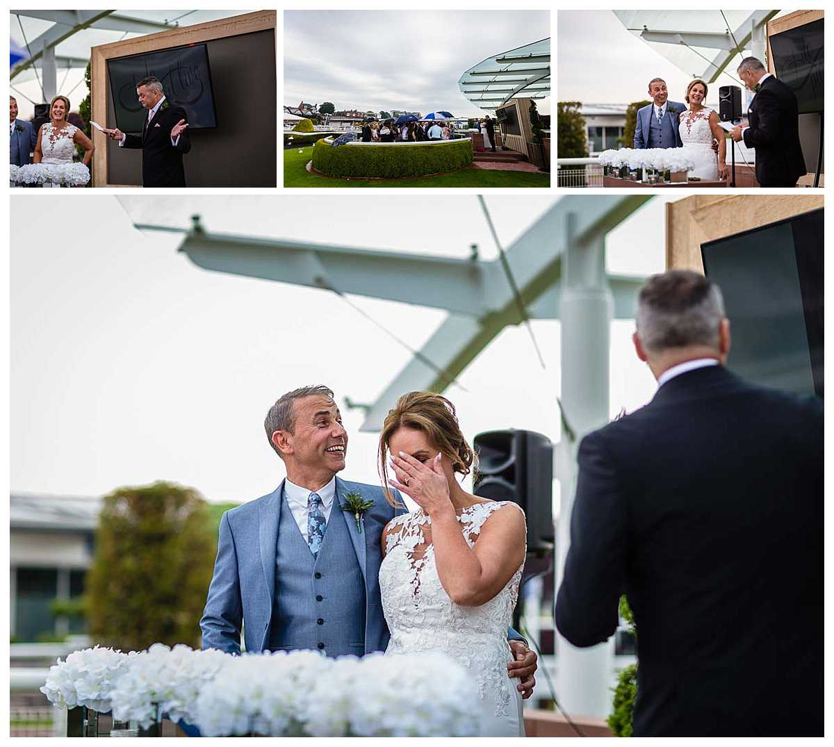 happy moments of outdoor ceremony at chester racecourse