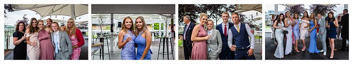 groups of very close friends and family at wedding at chester racecourse