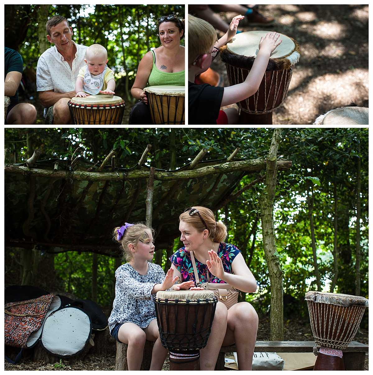 families learning how to play the drums in the woods at claremount farm, parentfolk outdoorsy one