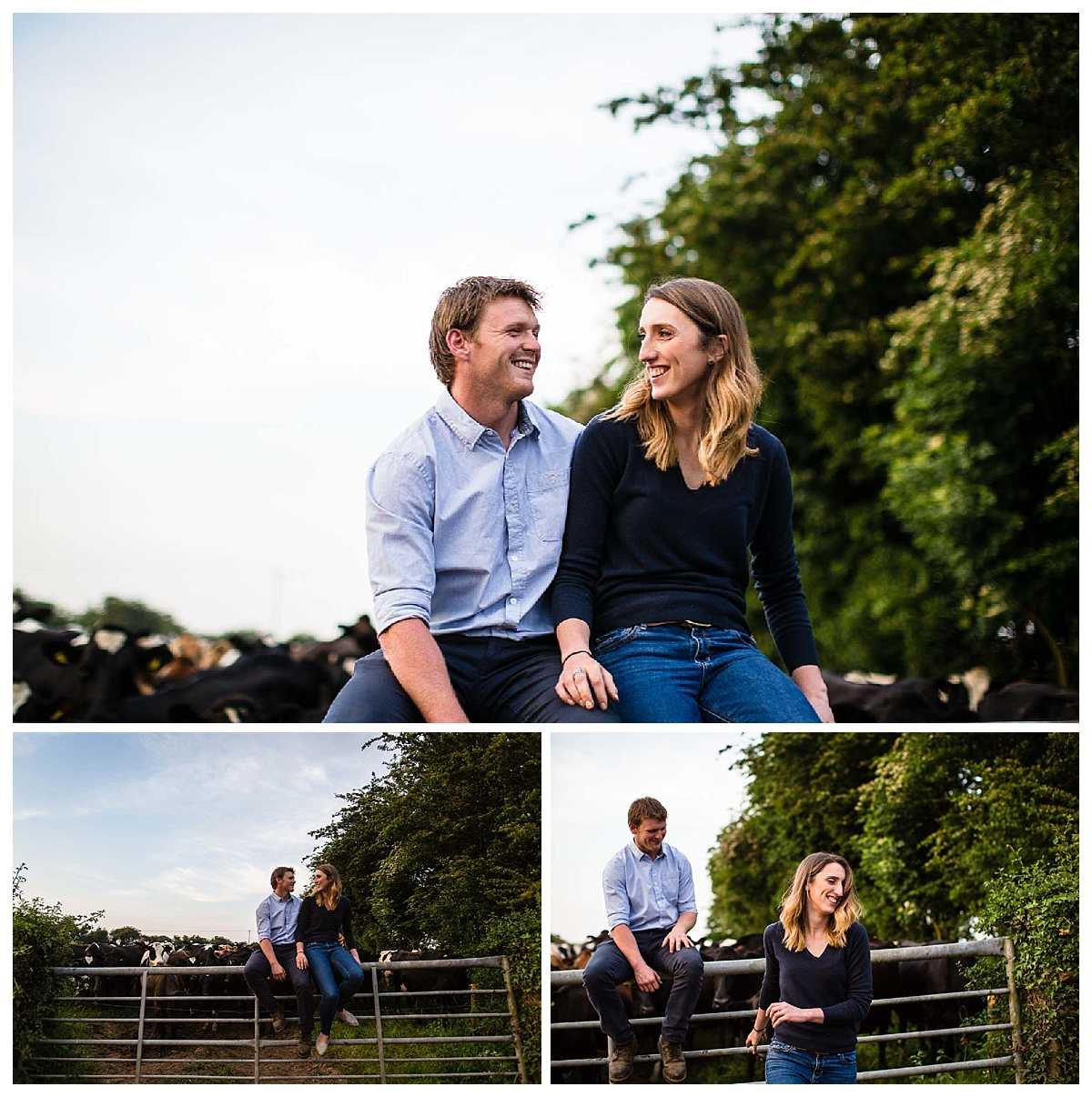 happy couple sitting on the gate of the cows field giggling and looking at one another
