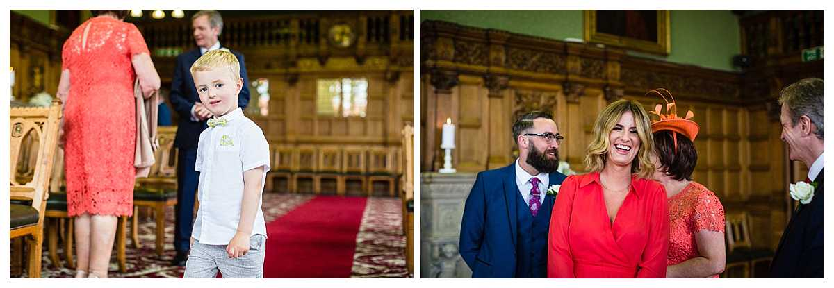 guests arriving at chester town hall wedding - charlotte giddings photography