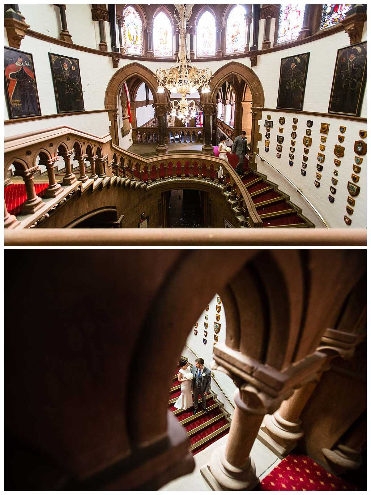bride and groom walking down the grand stair case in chester town hall - charlotte giddings photography