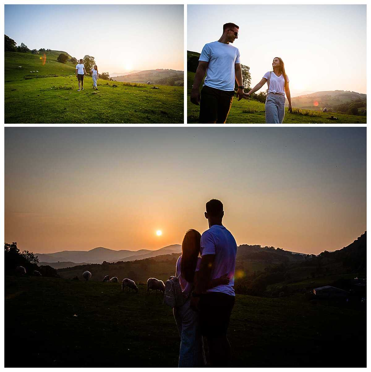 beautiful sunset at castell dinas bran with a in love bride and groom to be