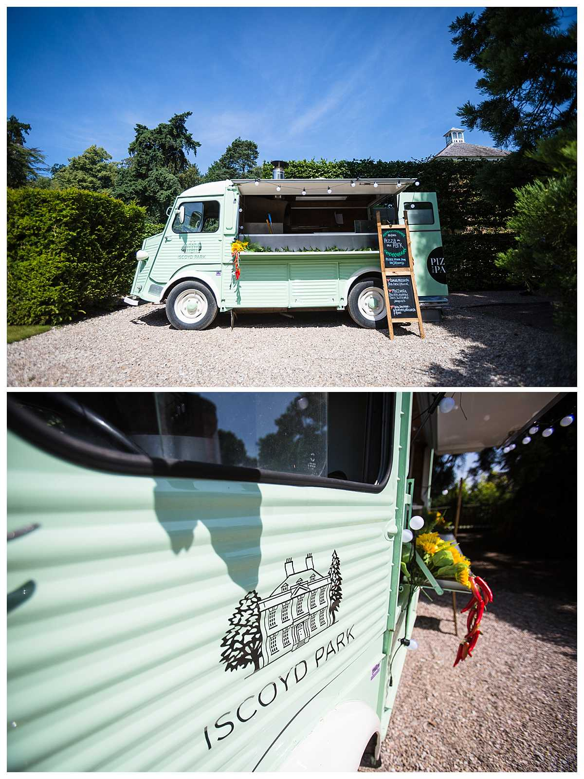 iscoyd park's beautiful pizza van set up for pizza making