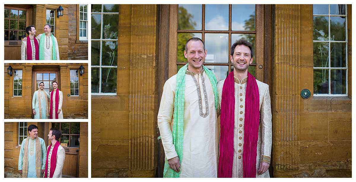 groom portrats with groomsmen all in traditional indian wedding dress code at poundon house wedding venue bicester
