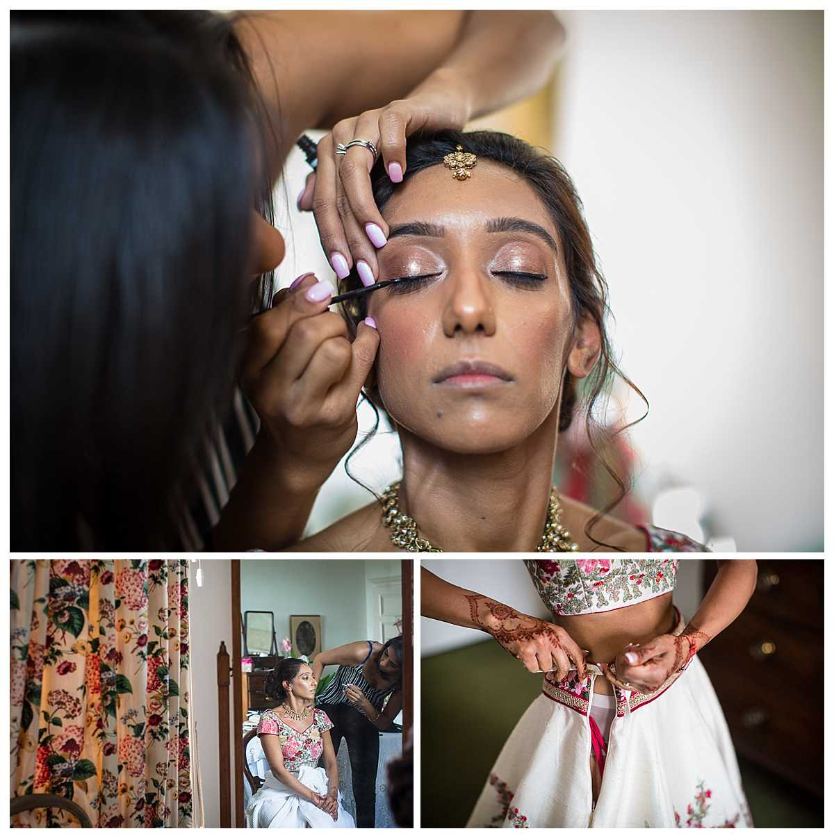 bride having finishing touches to her makeup and doing up her wedding shirt
