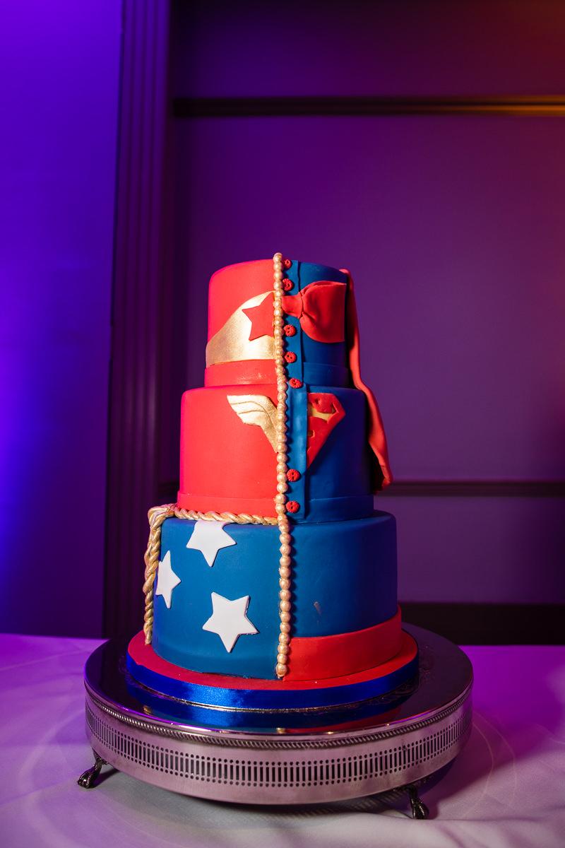 marvel themed cake at lake vyrnwy hotel wedding - charlotte giddings photography