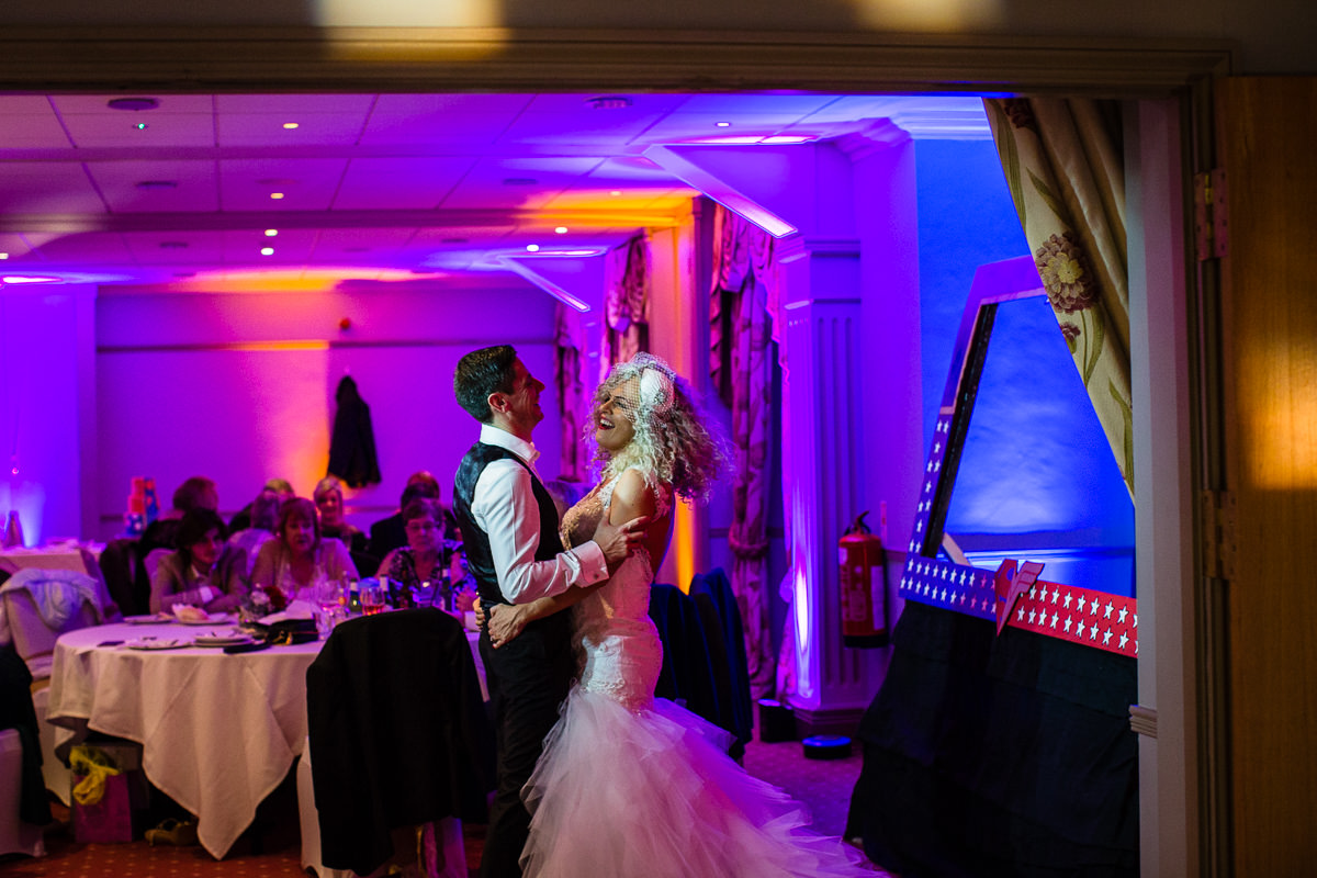 bride and groom dancing alone and having a moment at lake vyrnwy wedding