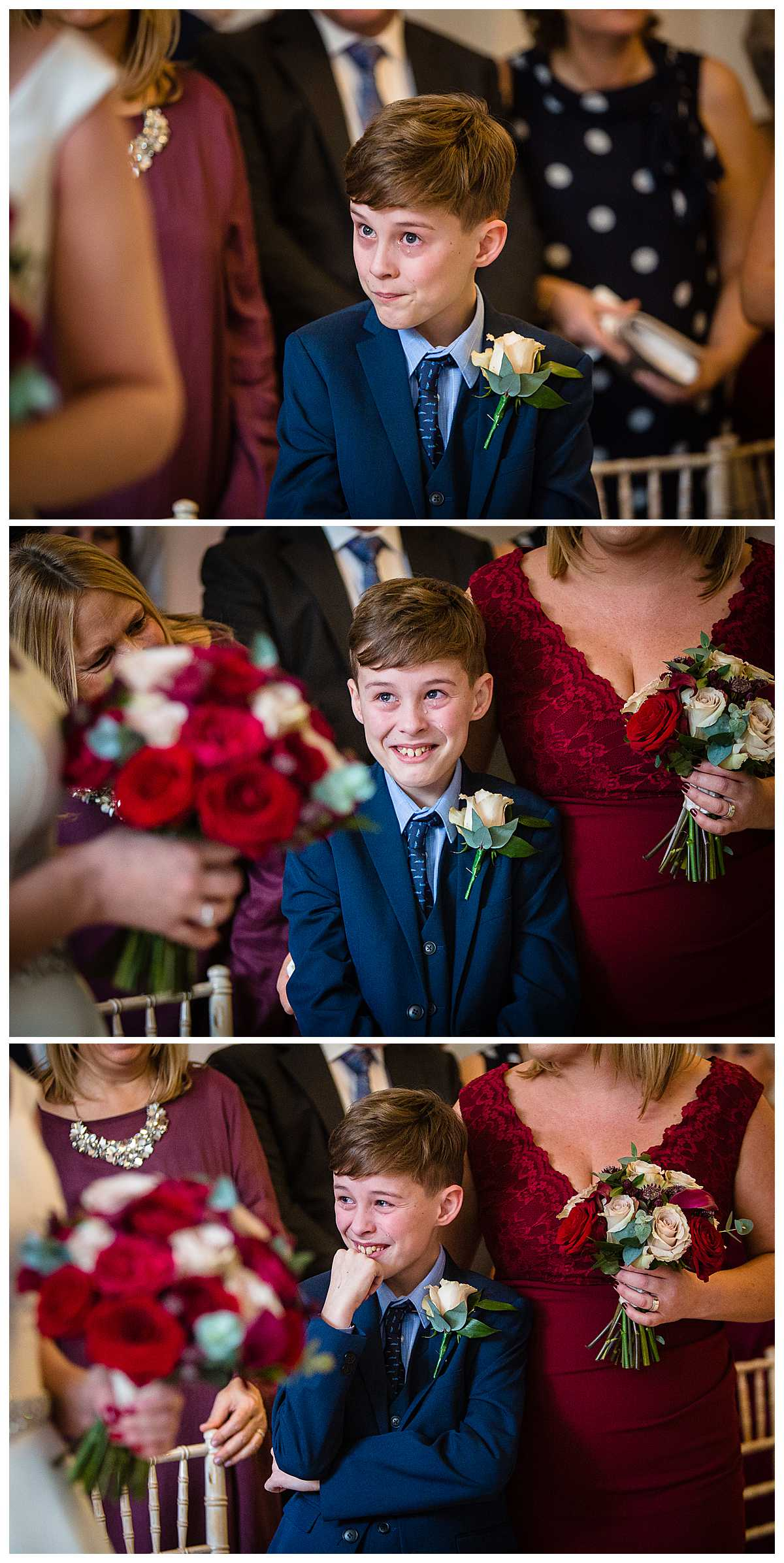 emotional page boy as he sees his mum for the first time as a bride. Bursting with emotion of happiness and pride