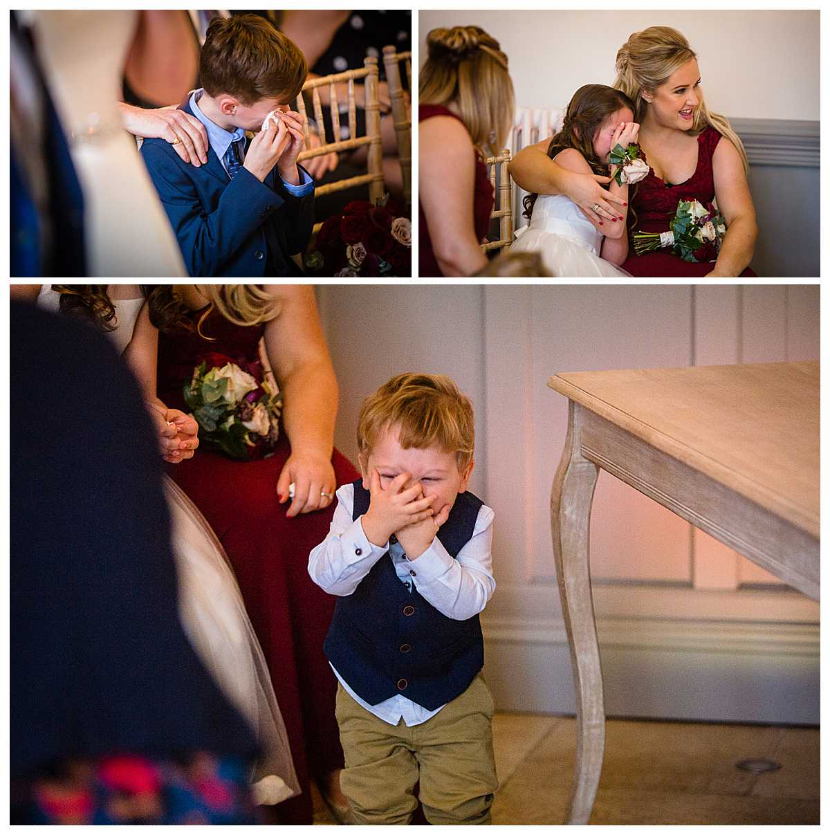 emotional children crying with happiness watching their mum getting married at tyn dwr hall
