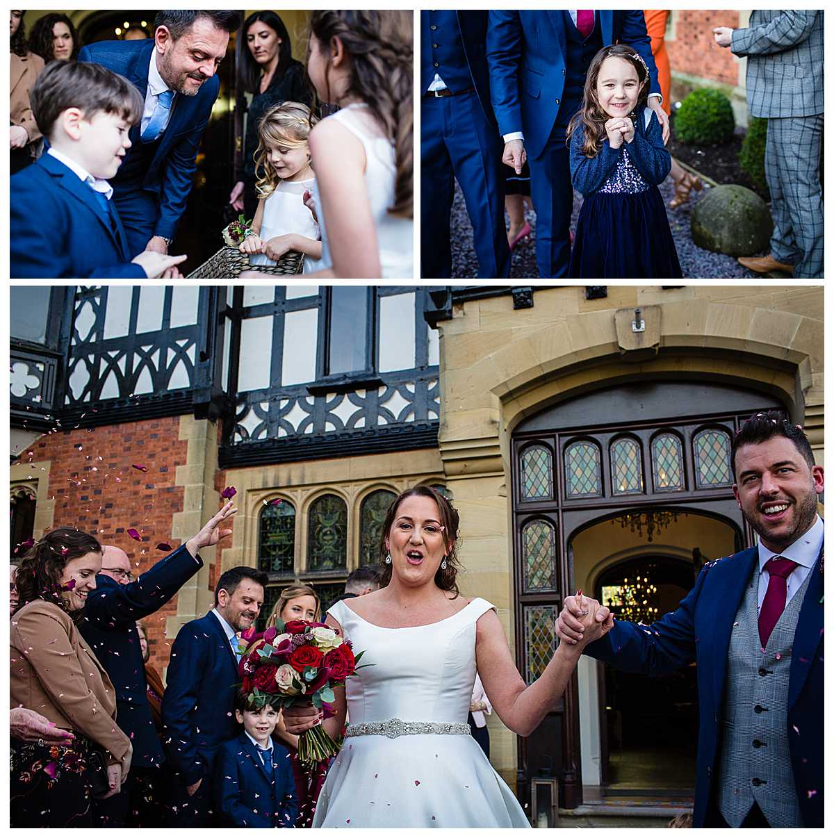 flower girls handing out confetti in the doorway at tyn dwr hall wedding llangollen and confetti being thrown at the happy couple