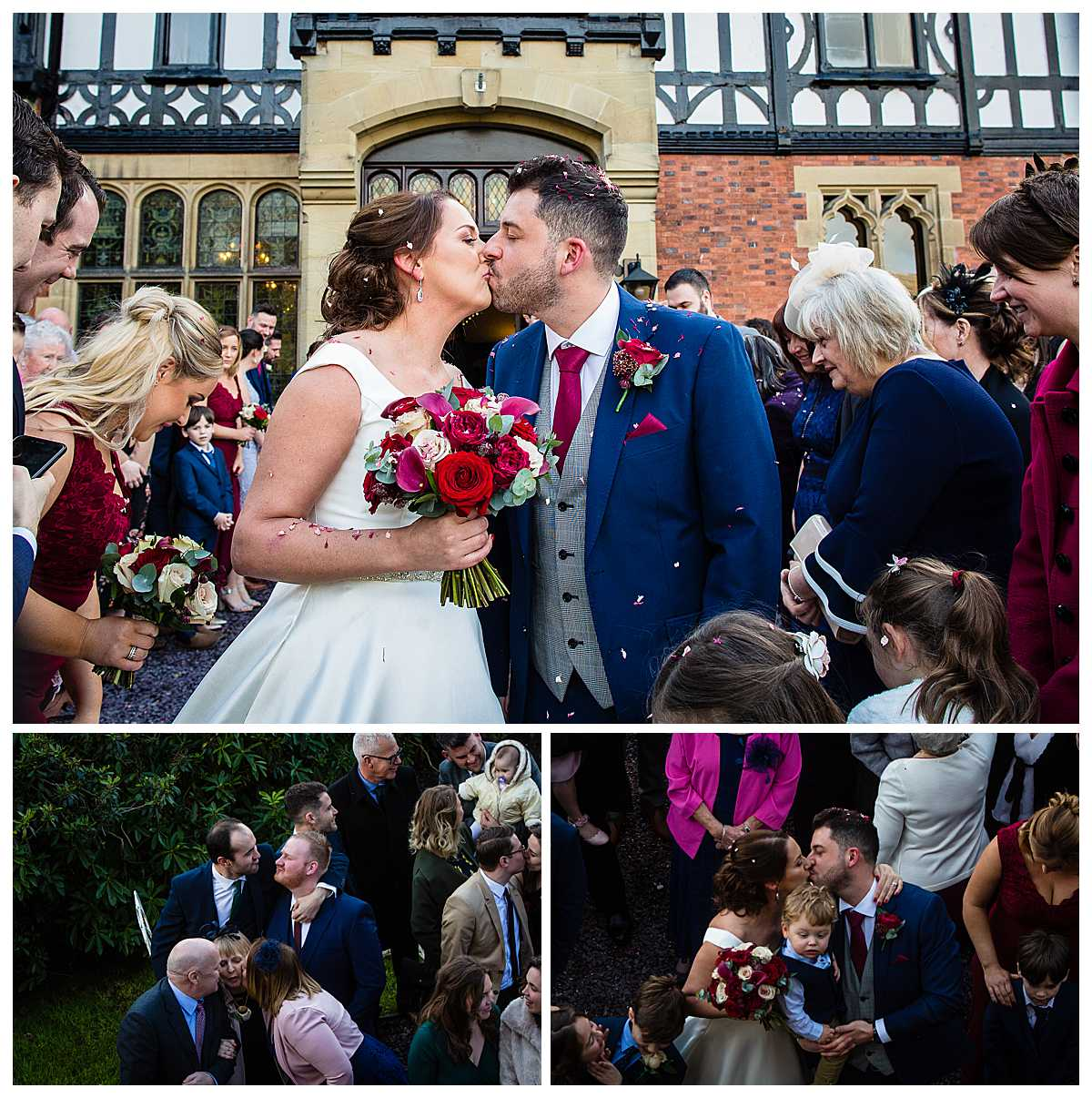 bride and groom having a kiss after the confetti tunnel outside tyn dwr hall