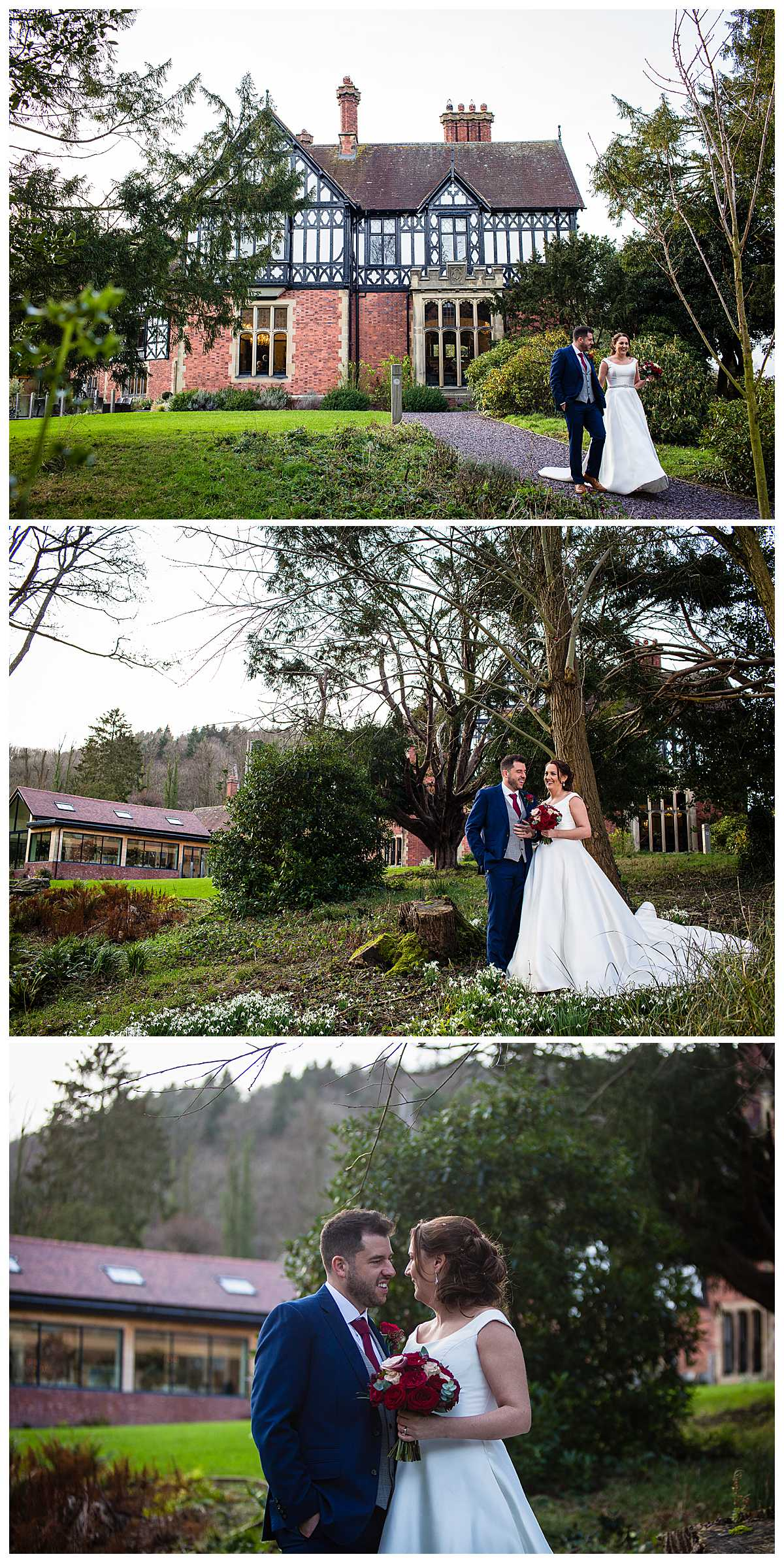 bride and groom amongst the snowdrops at tyn dwr hall in the grounds near the stream
