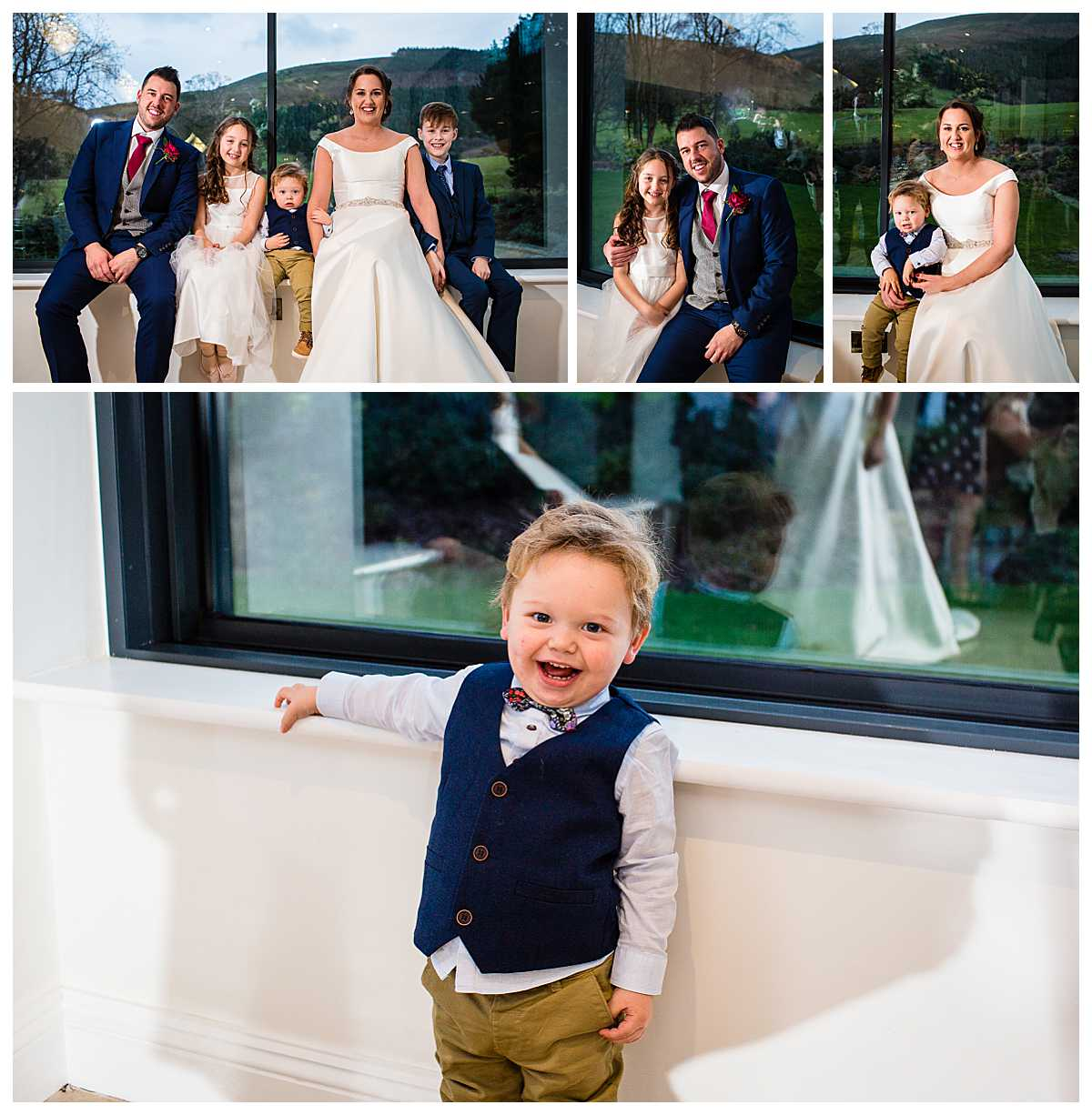 bride and groom with their children at tyn dwr hall looking very happy now they are a family unit