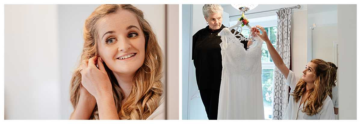 bride putting earrings in and getting wedding dress to put on, shropshire wedding photographer