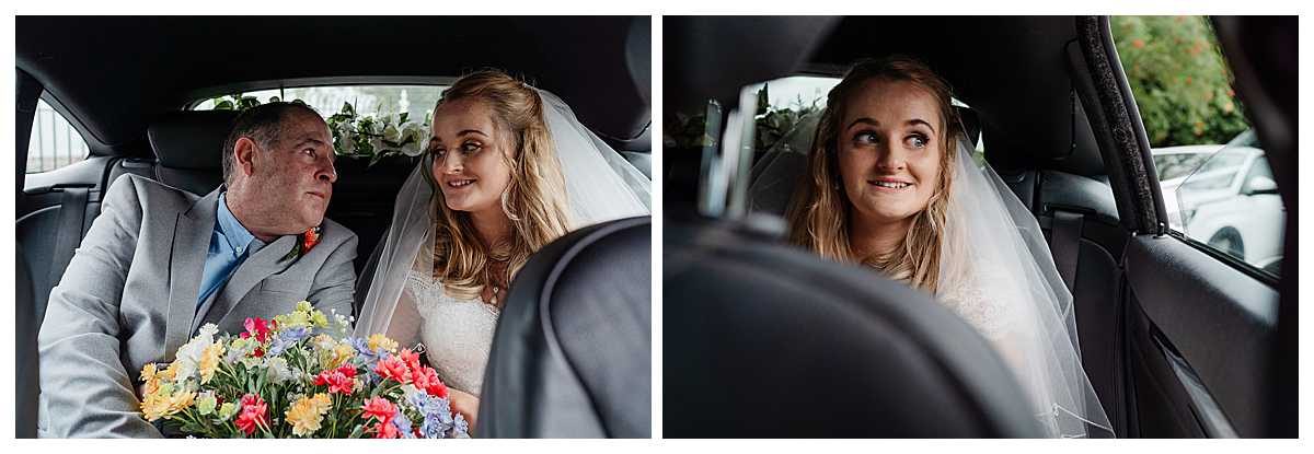 bride arriving with dad in wedding car at marbury church whitchurch, shropshire