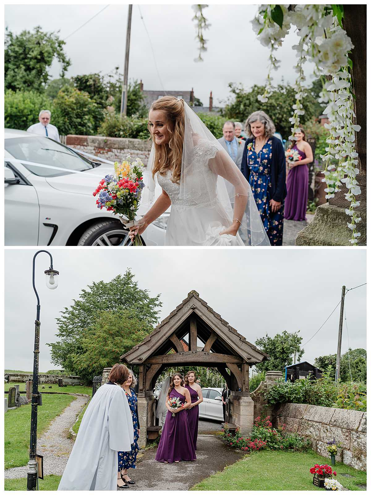 bride excited making her way into church down the park at marbury church whitchurch - charlotte giddings photography
