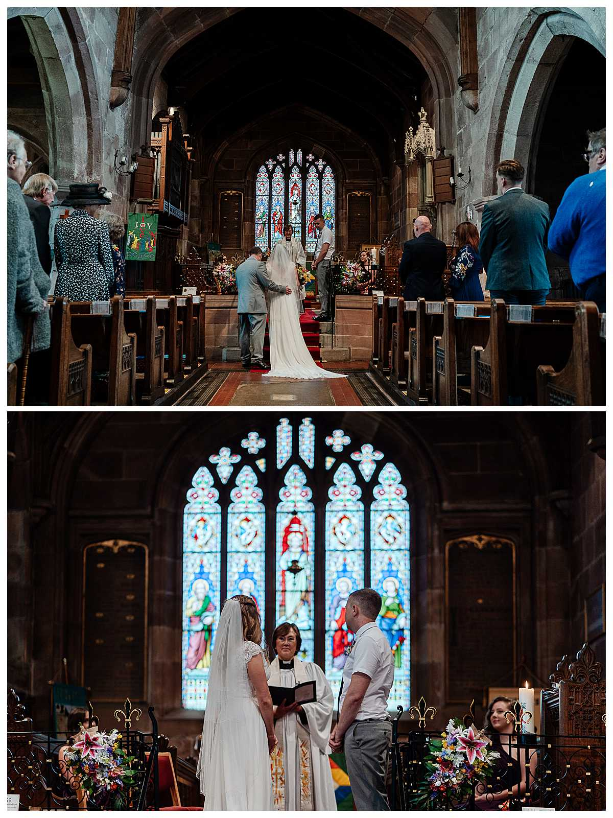bride arriving at the top of the aisle with her dad at marbury church, whitchurch, shropshire. wedding photographer shropshire